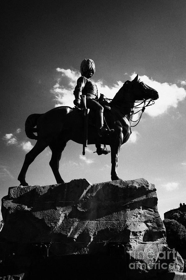 Royal Scots Greys Boer War Monument In Princes Street Gardens Edinburgh Scotland Uk United Kingdom Photograph