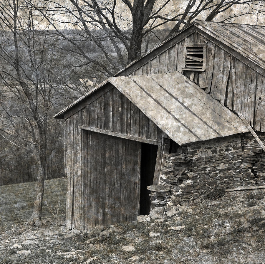 Rustic Hillside Barn Closeup Photograph