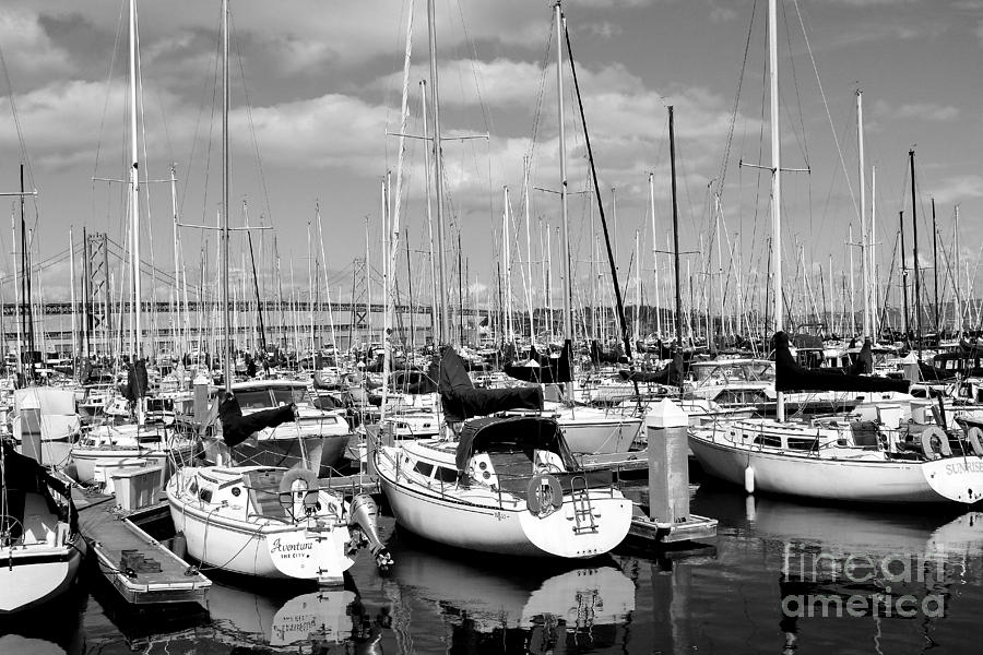 Sail Boats At San Francisco China Basin Pier 42 With The Bay Bridge In The Background . 7d7666 Photograph