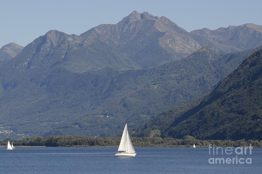 Sailing Boat And Mountain Photograph