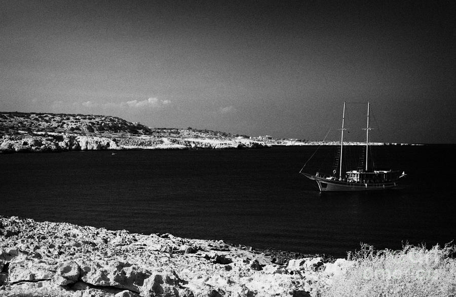 Sailing Boat Moored In A Quiet Bay Near Cape Gkreko Greco Republic Of Cyprus Photograph