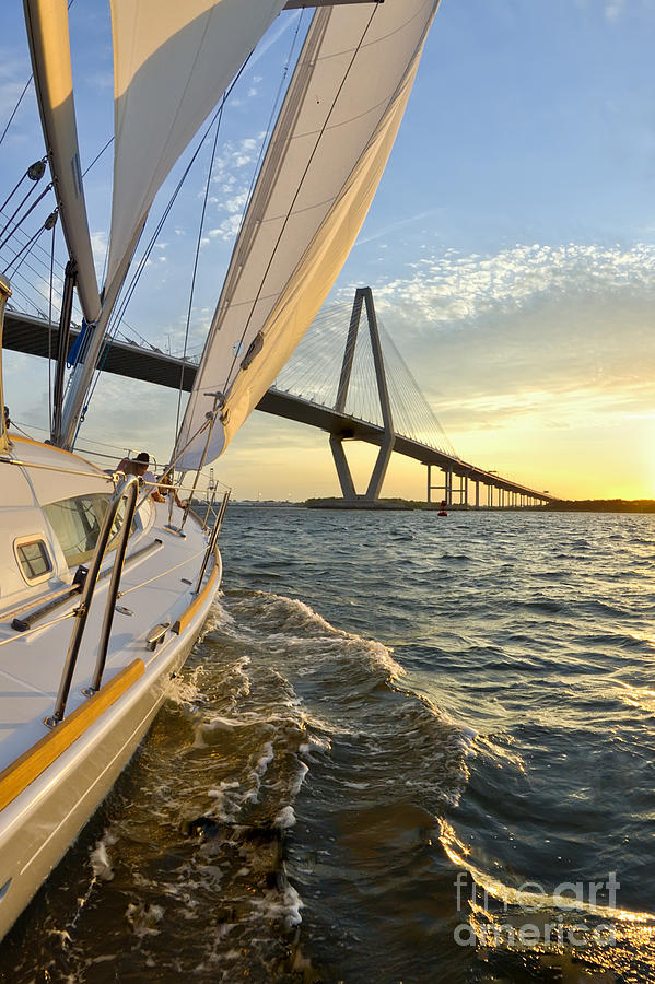Sailing On The Charleston Harbor During Sunset Photograph  - Sailing On The Charleston Harbor During Sunset Fine Art Print