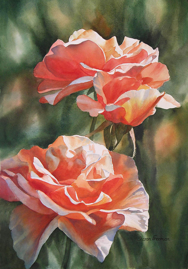 Salmon Colored Roses Painting