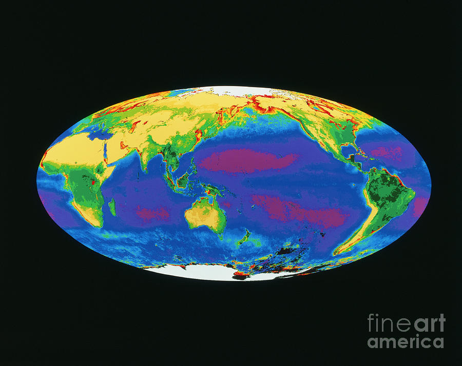 Satellite Image Of The Earths Biosphere Photograph