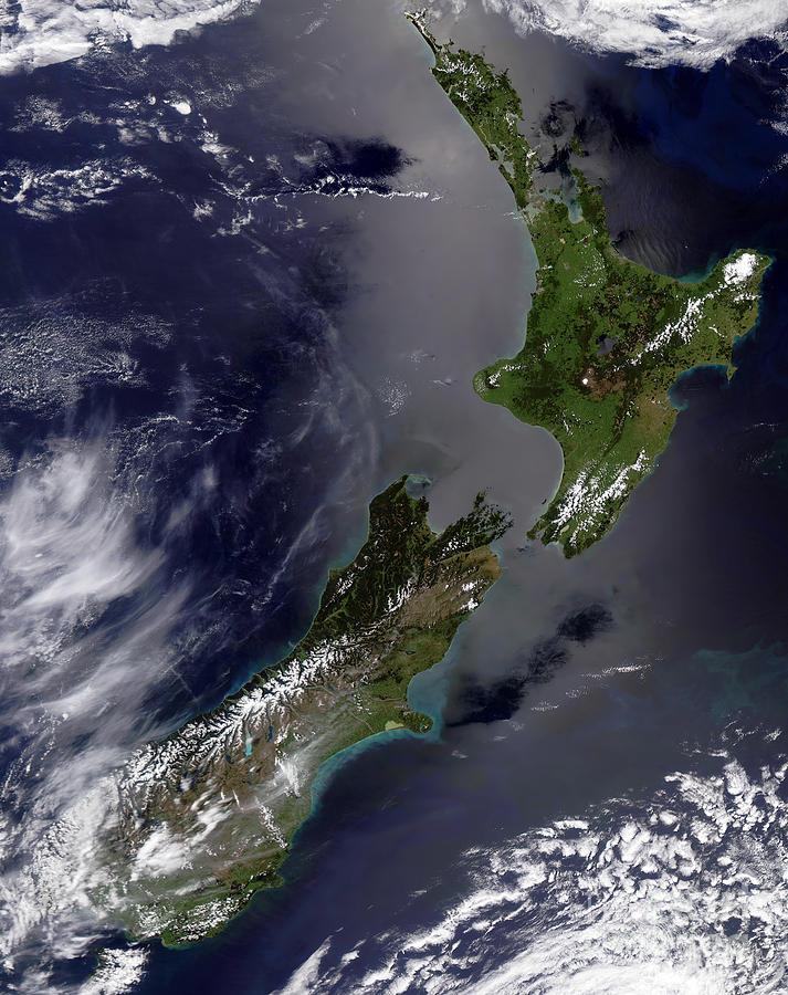 Color Image Photograph - Satellite View Of New Zealand by Stocktrek Images