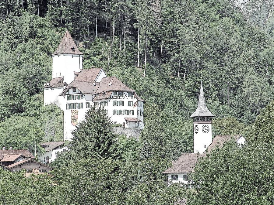 Europe Photograph - Schloss Wimmis And Church Switzerland by Joseph Hendrix