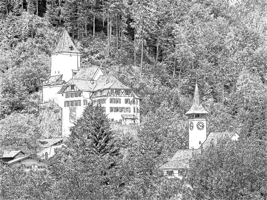 Schloss Wimmis And Church Wimmis Switzerland Photograph