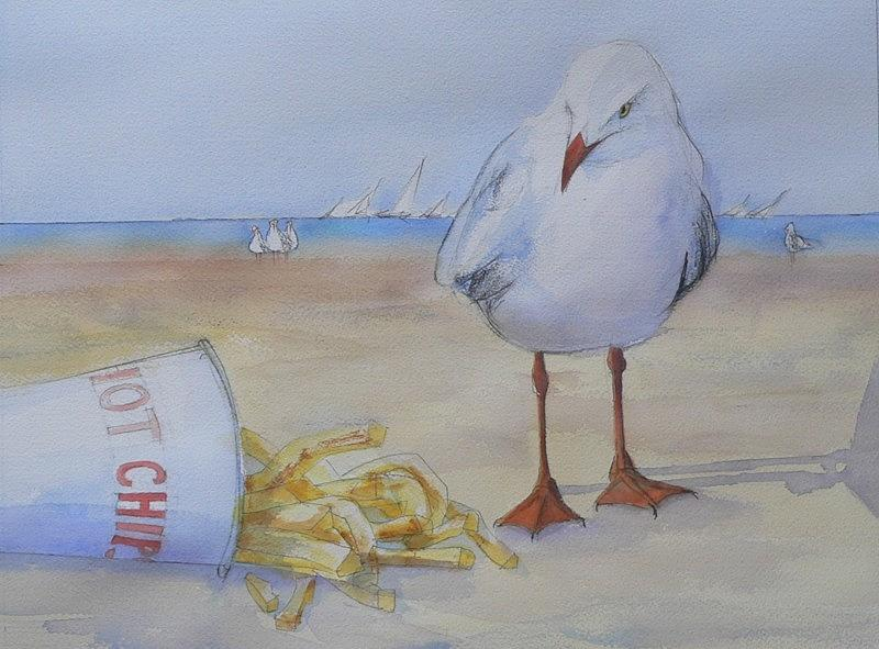 Seagull And Hot Chips Painting  - Seagull And Hot Chips Fine Art Print