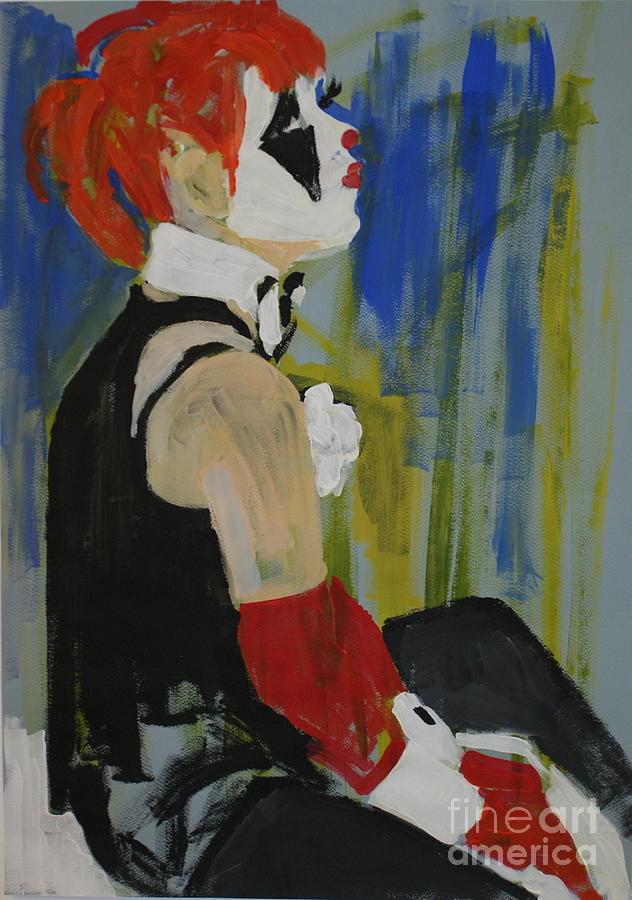 Seated Lady Clown Painting  - Seated Lady Clown Fine Art Print