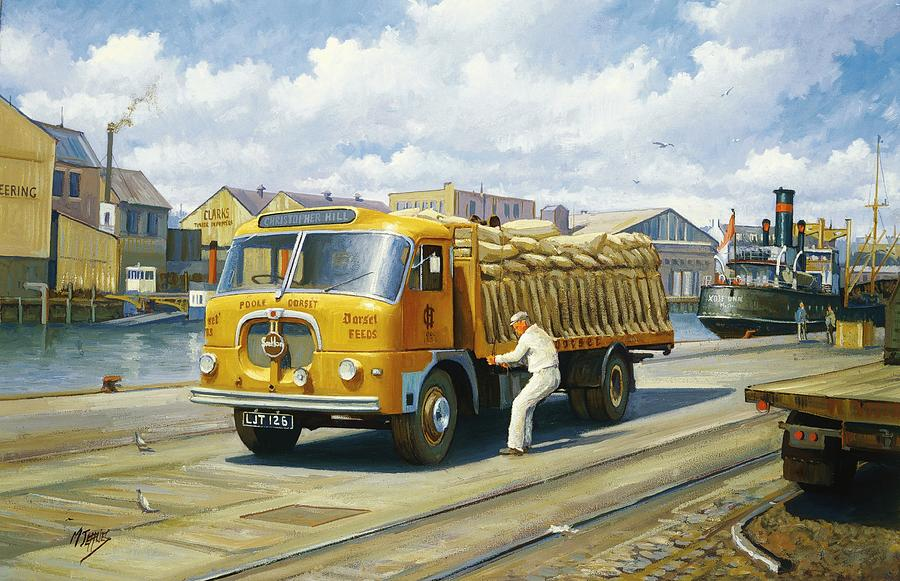 Seddon At Poole Docks. Painting  - Seddon At Poole Docks. Fine Art Print