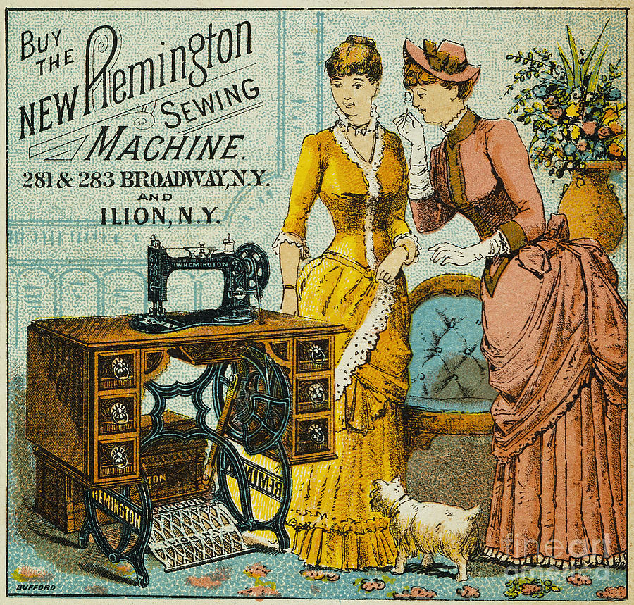Sewing Machine Ad, C1880 Photograph