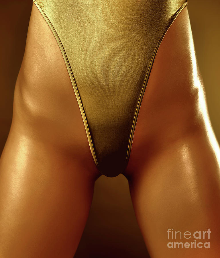 Sexy Covered With Gold Woman In High Cut Swimsuit Photograph  - Sexy Covered With Gold Woman In High Cut Swimsuit Fine Art Print