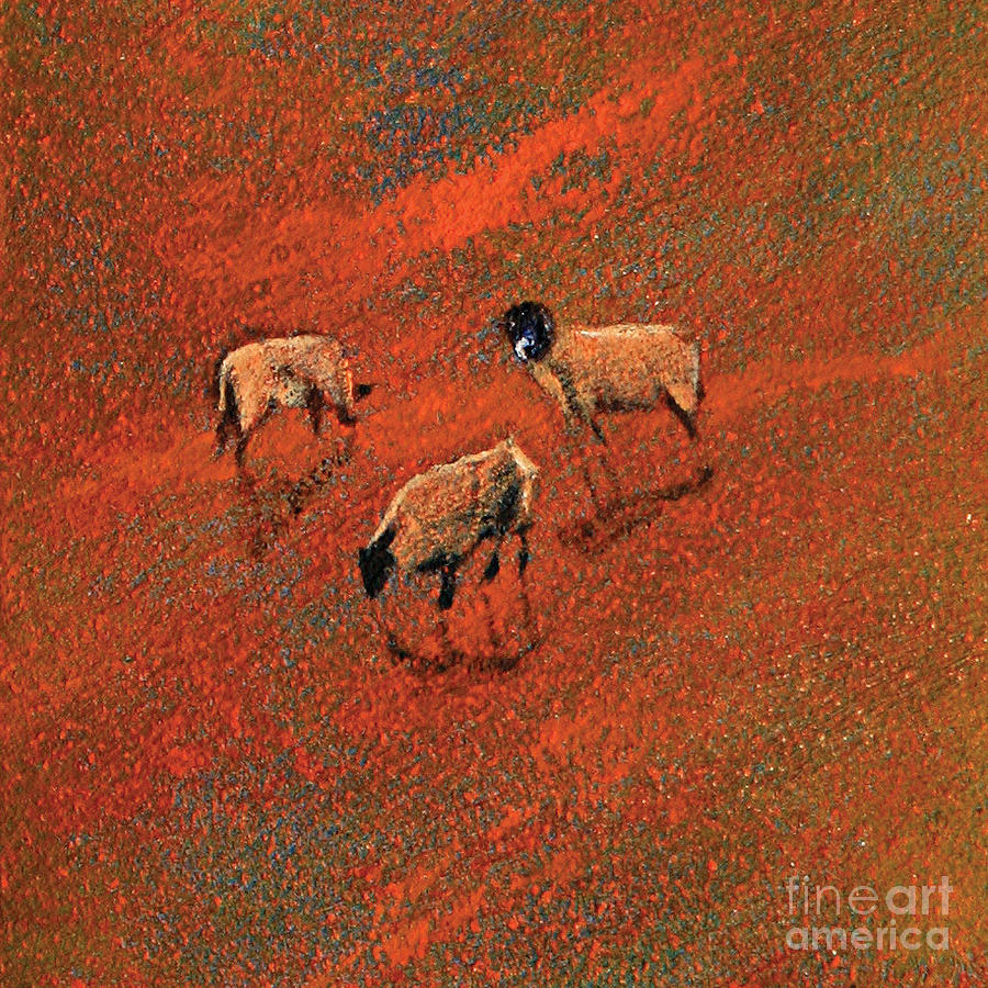 Sheep In Copper Coloured Landscape Painting  - Sheep In Copper Coloured Landscape Fine Art Print