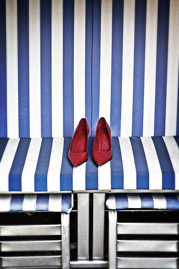 Shoes In A Beach Chair Photograph  - Shoes In A Beach Chair Fine Art Print