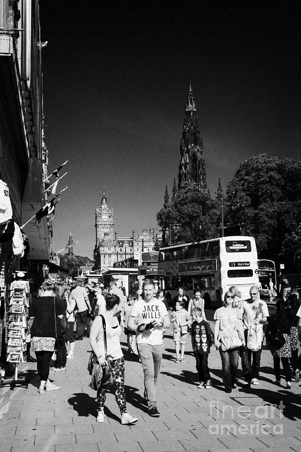 Shoppers And Tourists On Princes Street Edinburgh Scotland Uk United Kingdom Photograph  - Shoppers And Tourists On Princes Street Edinburgh Scotland Uk United Kingdom Fine Art Print