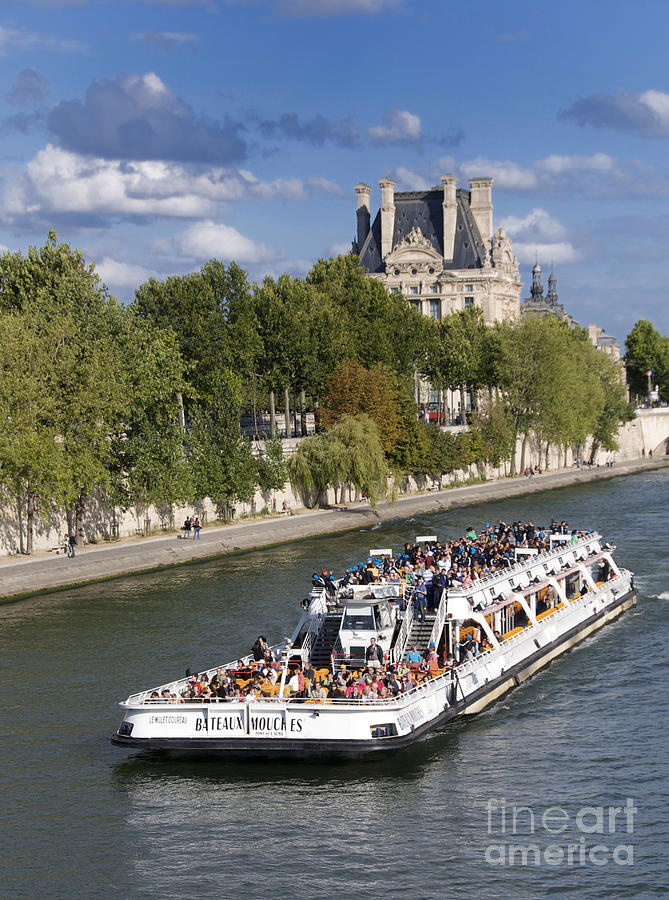 Sightseeing Boat On River Seine To Louvre Museum. Paris Photograph  - Sightseeing Boat On River Seine To Louvre Museum. Paris Fine Art Print