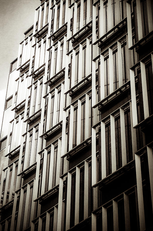 Clouds Photograph - Slatted Window Architecture by Lenny Carter