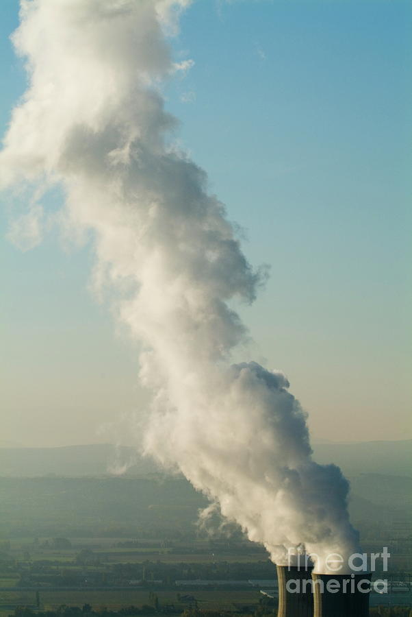 Smoke Emitting From Cooling Towers Of Tricastin Nuclear Power Plant Photograph