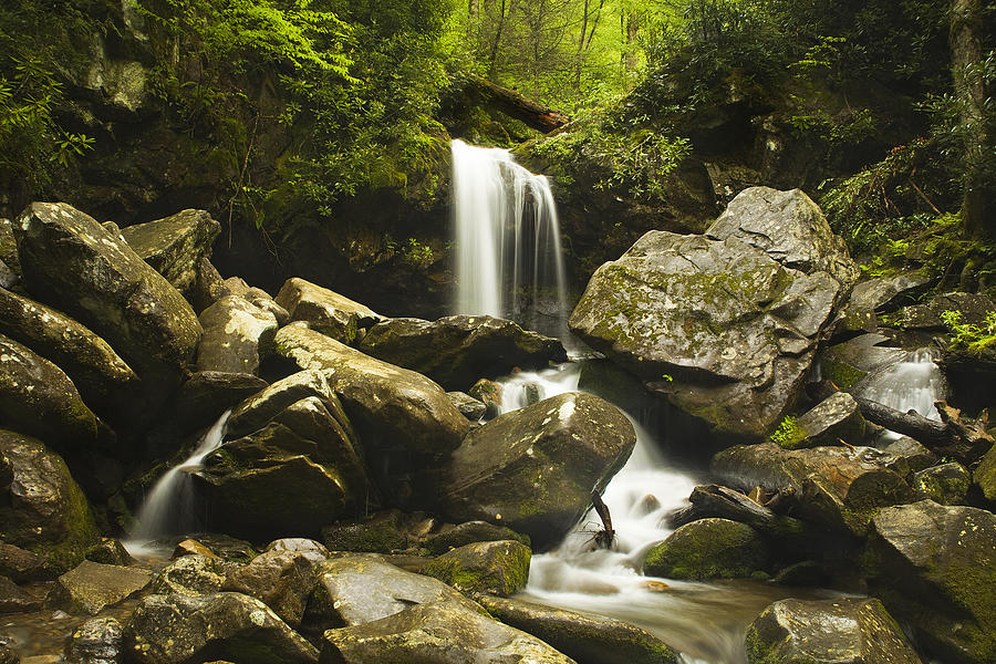 Grotto Falls Photograph - Smoky Mountain Waterfall by Andrew Soundarajan