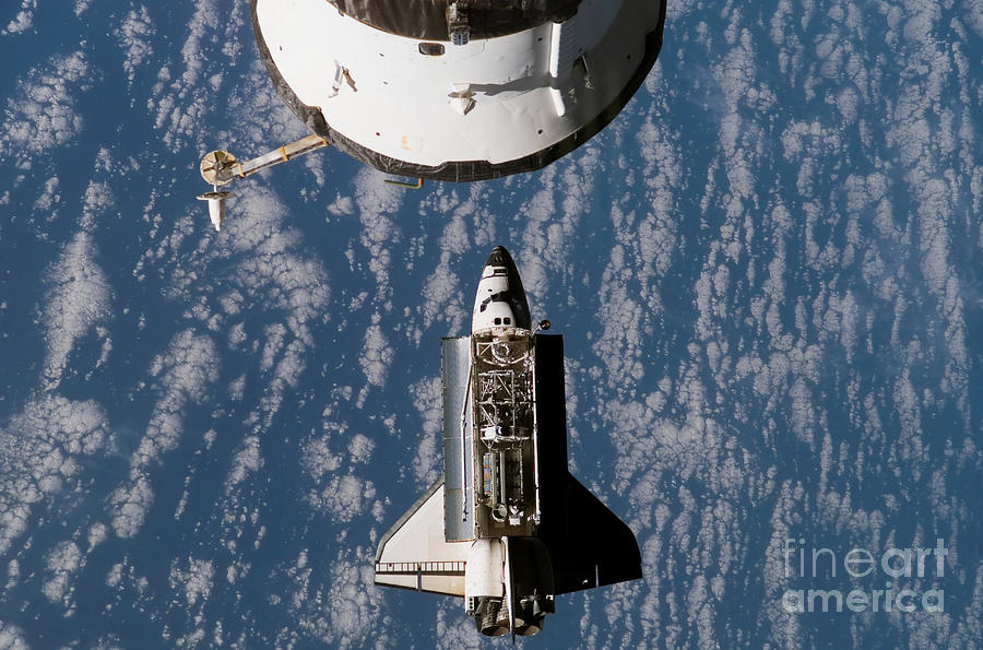 Atlantis Photograph - Space Shuttle Atlantis Approaching by Stocktrek Images