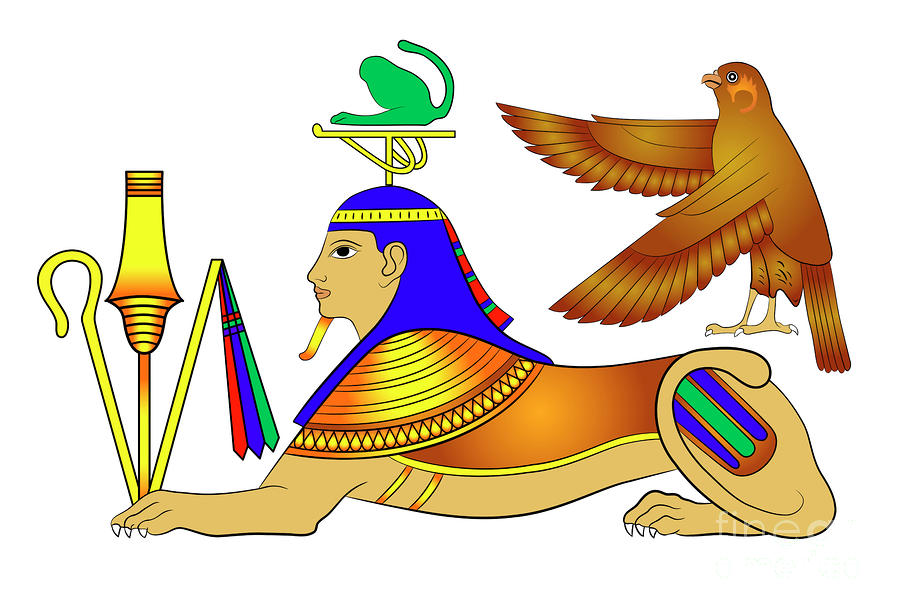 Sphinx - Mythical Creatures Of Ancient Egypt Drawing  - Sphinx - Mythical Creatures Of Ancient Egypt Fine Art Print