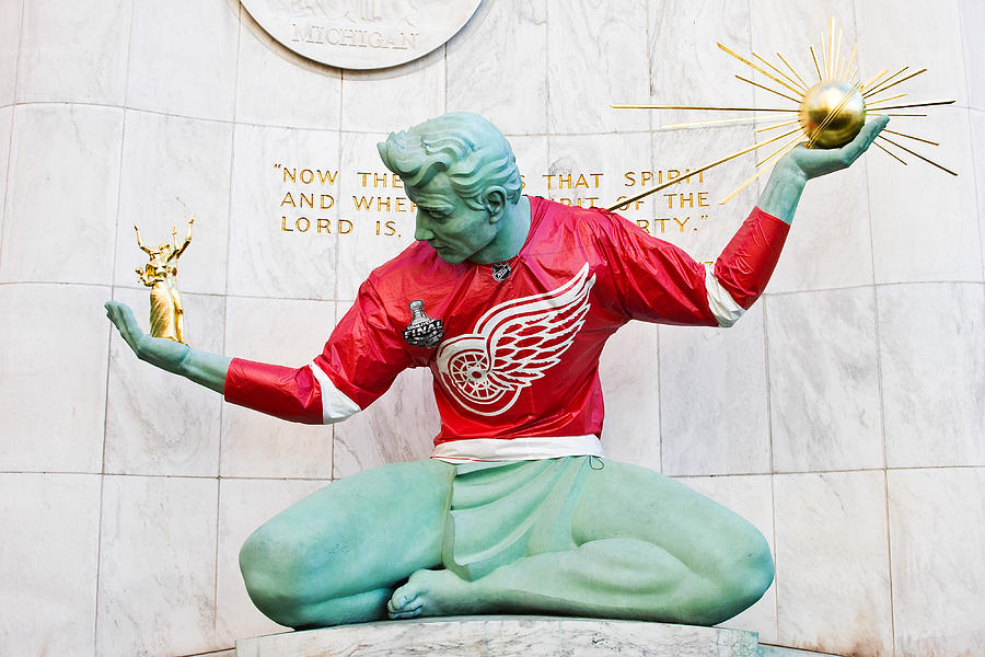 Spirit Of Detroit In Red Wing Jersey Photograph
