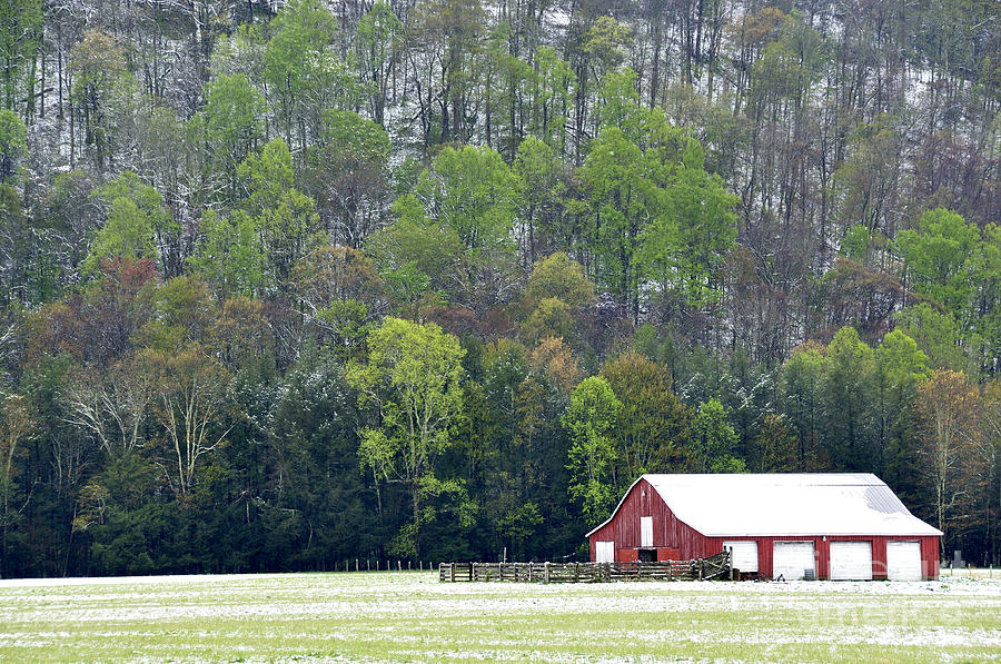 Barn Photograph - Spring Snow  by Thomas R Fletcher