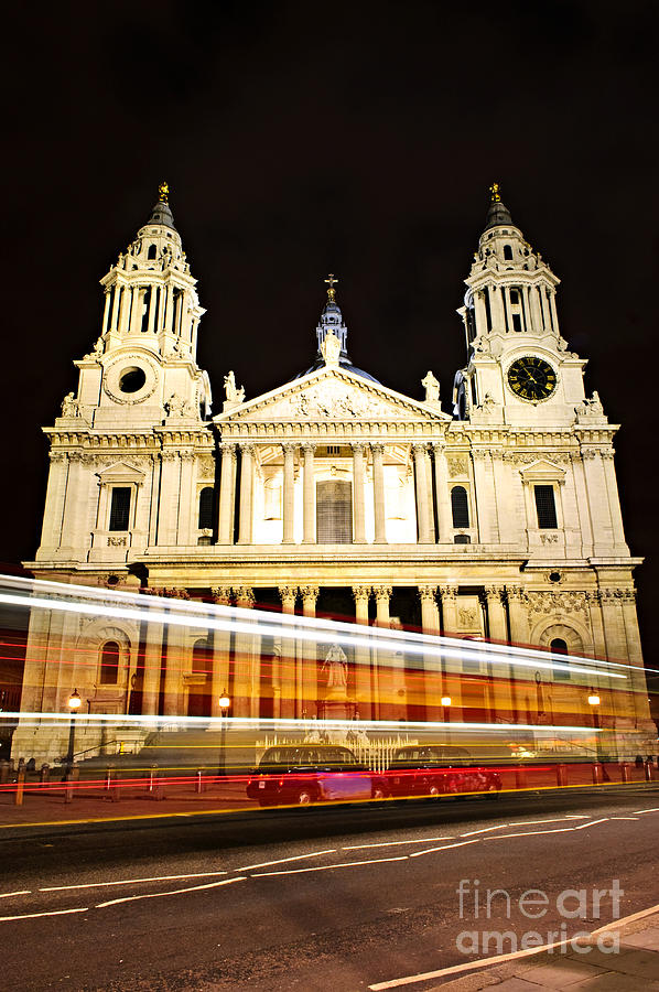 St. Pauls Cathedral In London At Night Photograph