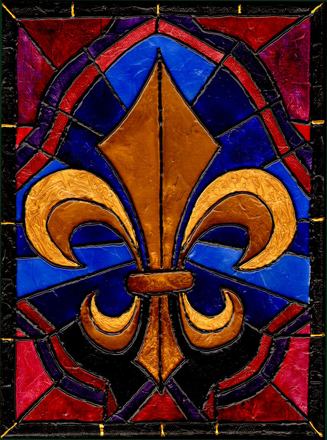 Stained Glass Fleur De Lis Painting  - Stained Glass Fleur De Lis Fine Art Print