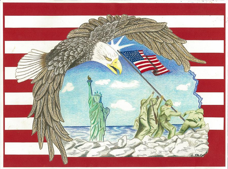 Stars And Stripes Drawing  - Stars And Stripes Fine Art Print