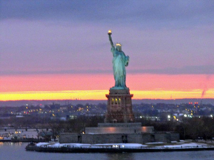 Statue Of Liberty Photograph - Statue Of Liberty At Sunset by Mircea Veleanu