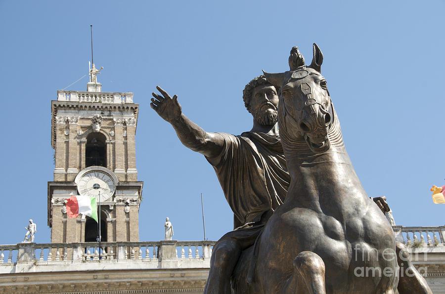 Views Photograph - Statue Of Marcus Aurelius On Capitoline Hill Rome Lazio Italy by Bernard Jaubert