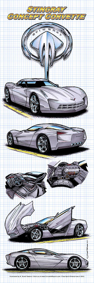 Stingray Concept Corvette Drawing  - Stingray Concept Corvette Fine Art Print