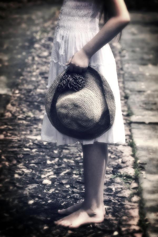 Girl Photograph - Straw Hat by Joana Kruse