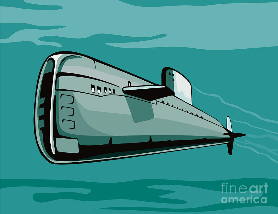 Illustration Digital Art - Submarine Boat Retro by Aloysius Patrimonio
