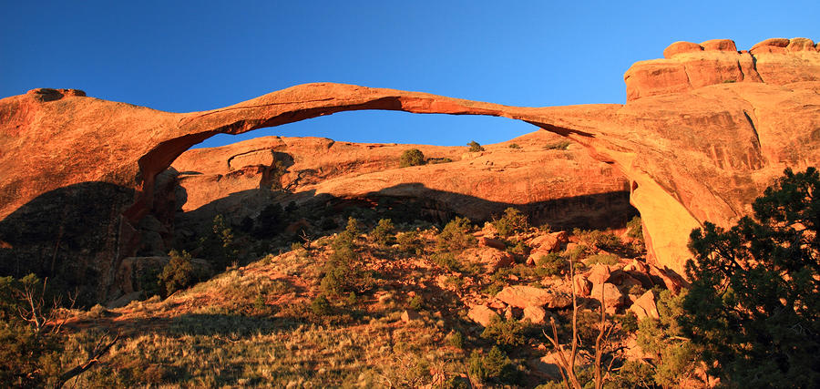 Sunrise At Landscape Arch In Arches National Park Photograph