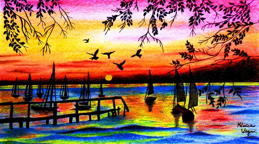 Sunset Drawing  - Sunset Fine Art Print