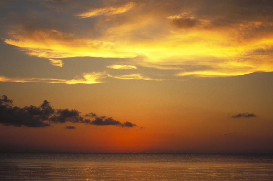 Sunset On Horizon Of Caribbean Sky Photograph