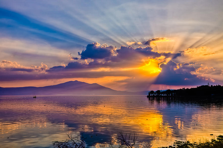 Sunset On Lake Chapala Photograph  - Sunset On Lake Chapala Fine Art Print