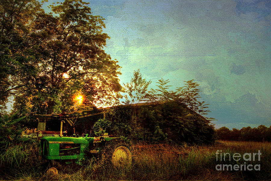 Sunset On Tractor Photograph  - Sunset On Tractor Fine Art Print