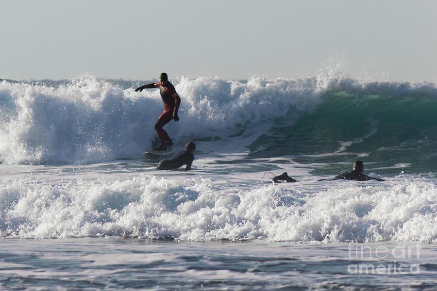 Surfers At Porthtowan Cornwall Photograph
