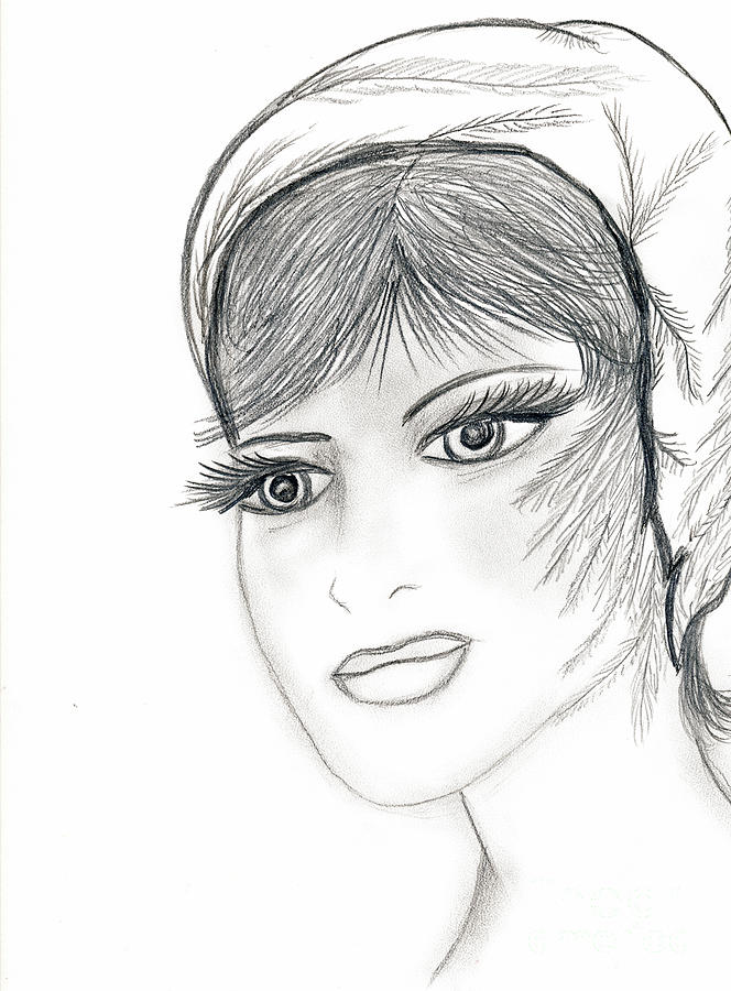 Sweet Flapper Drawing  - Sweet Flapper Fine Art Print