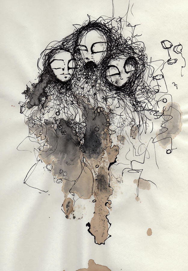 Talking To Yourself Again  Drawing  - Talking To Yourself Again  Fine Art Print