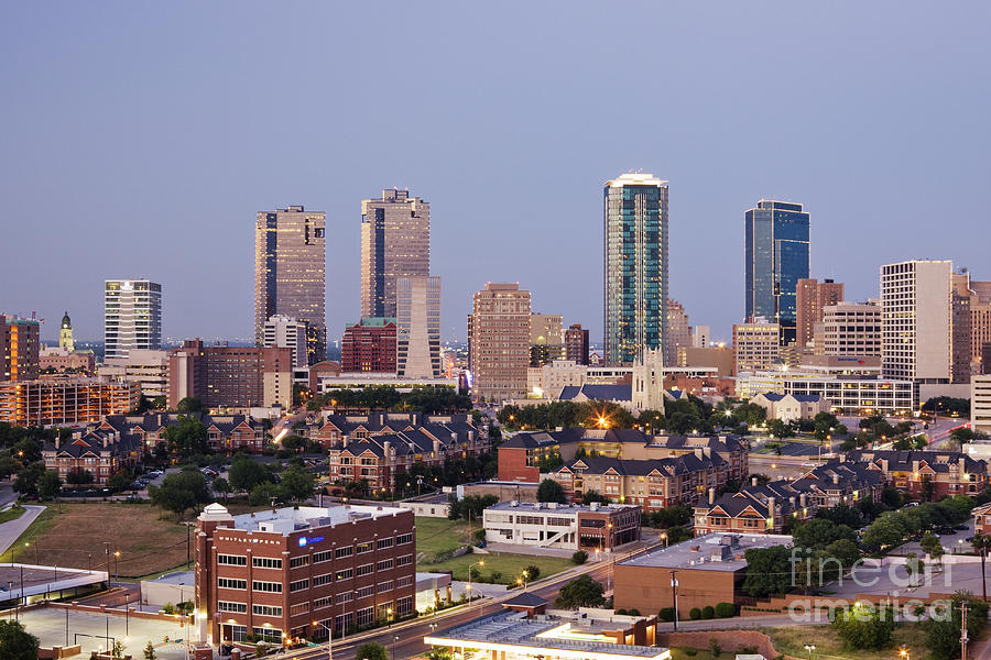 Tall Buildings In Fort Worth At Dusk Photograph