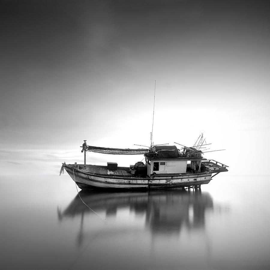 Black&white Photograph - Thai Fishing Boat by Teerapat Pattanasoponpong