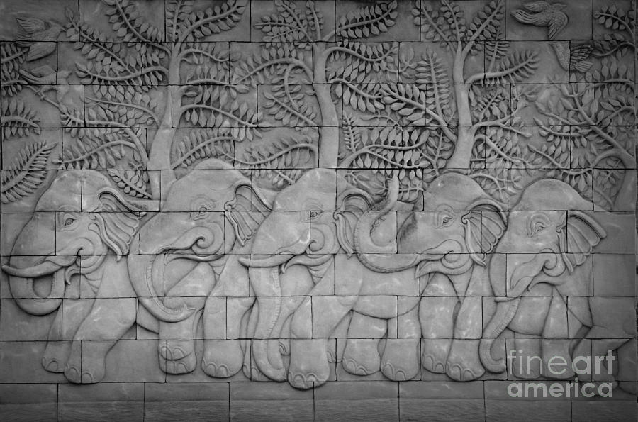 Thai Style Handcraft Of Elephant Relief  - Thai Style Handcraft Of Elephant Fine Art Print