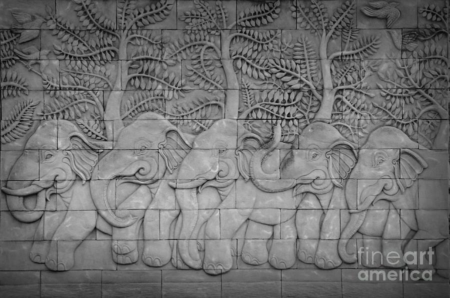 Thai Style Handcraft Of Elephant Relief