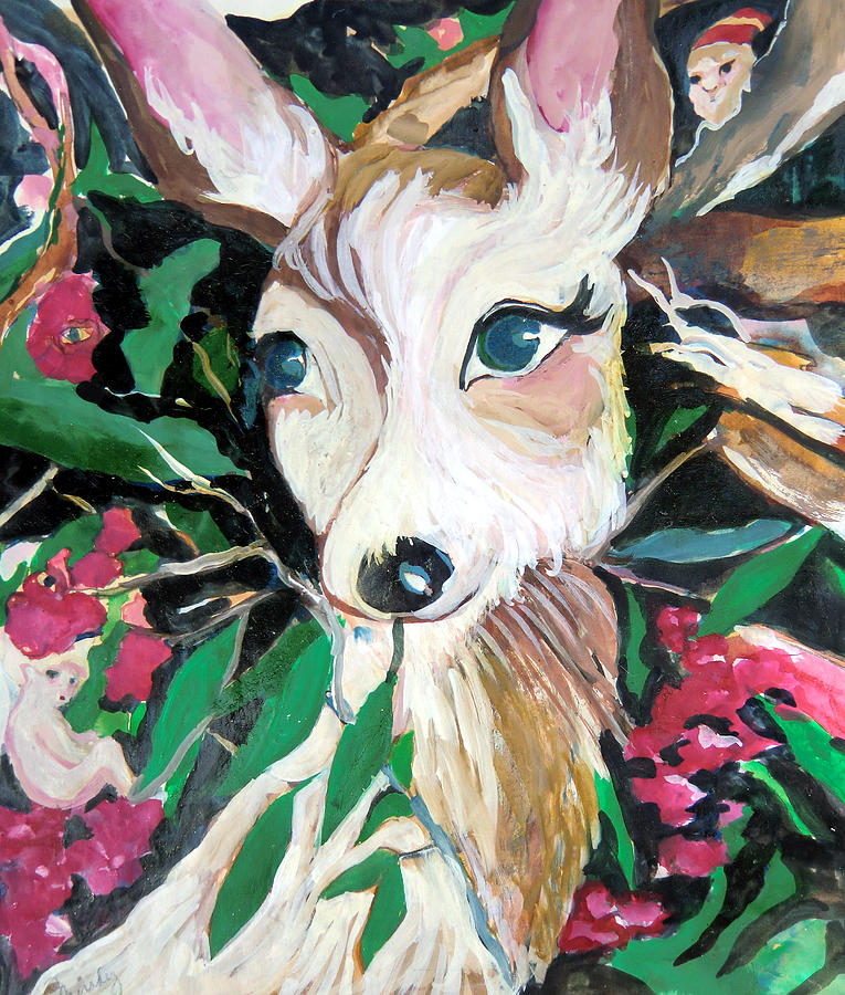 The Christmas Deer Painting  - The Christmas Deer Fine Art Print