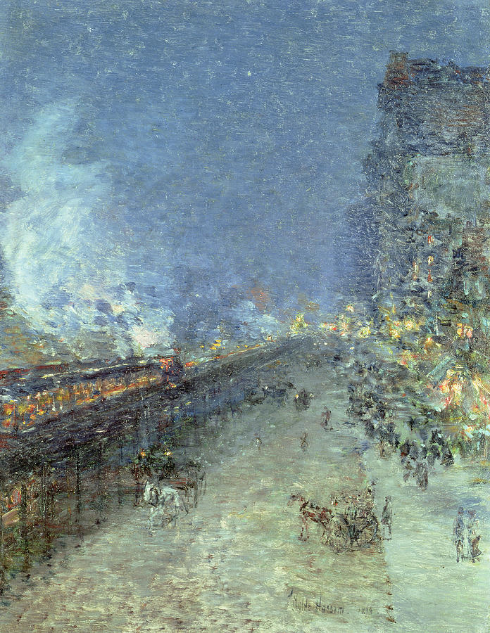 American Impressionist; Street; Rain; Tram; Lights; Night; The Ten Group; Nyc; Manhattan; Public Transport System; Impressionism Painting - The El by Childe Hassam