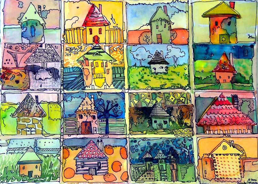 The Little Houses Painting  - The Little Houses Fine Art Print